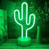 Ninboca Cactus LED Lights Neon Signs Cactus Neon Kids Night Lights with Pedestal Room Decor Battery USB Operation Cactus Lamp