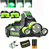 Upgrade Rechargeable Zoomable Headlamp, 4 Modes 5000 Lumen White Green LED Head Lights, 2X 2200mAh 18650 Batteries Power Bank