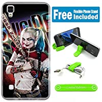 [ Ashely Cases ] LG Tribute HD ls676カバーケーススキンwith柔軟な電話スタンド – Suicide Squad Harley Quinn Real shinylogo