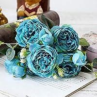 WTYDパーティー用品 美しいバラ牡丹人工絹の花小さな花束フォアホームパーティー春の結婚式の装飾偽の花(ピンク) お祝いパーティーに使用 (色 : Blue)