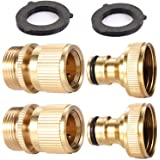 2Sets Garden Hose Quick Connector 3/4 inch GHT Brass Easy Connect Fitting - Quick Disconnect Hose Fittings Male and Female