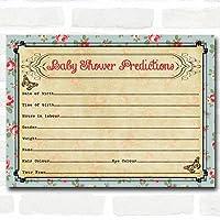 Shabby Chic TeaパーティーベビーシャワーゲームPredictionsカード 16 Cards