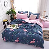getmorebeauty Flamingo Pattern Duvet Cover Set Includes 2 Pillowcases( KING / QUEEN / FULL / TWIN size ) (King, Flamingo)