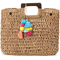 Womens Large Straw Bags Top Handle Beach Tote Bag Hobo Summer Handwoven Handbag Purse