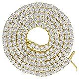 Midwest Jewellery スターリングシルバー イエロー調 メンズ レディース ユニセックス 7mm 26インチ キュービックジルコニア テニスチェーン SLV-75216