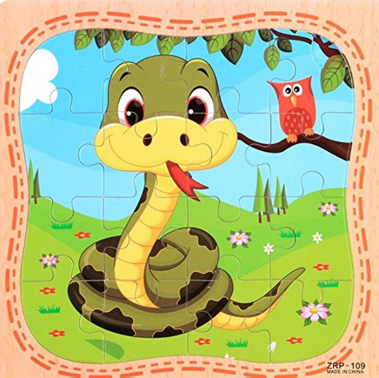 HuaQingPiJu-JP 創造的な木製動物の教育パズルアーリーラーニング番号の形の色の動物のおもちゃキッズ(ヘビ)のための素晴らしいギフト