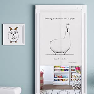 動物シリーズ のれん 北欧風 漫画 綿麻 リビングルーム・ポーチ・洗面所・台所用 カーテン 半遮光 おしゃれ 天然素材 動物 80x90cm