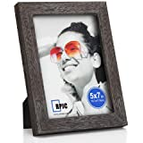 RPJC 5x7 Picture Frames Made of Solid Wood High Definition Glass for Table Top Display and Wall mounting Photo Frame Driftwoo