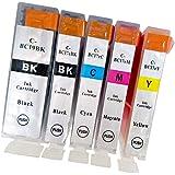 BCI-7e (BK/C/M/Y) + BCI-9 (BK/ブラック) 【5色マルチパック】 最新 互換 インクカートリッジ 《ICチップ搭載・残量表示対応・1年間保証》 7e 9bk インク 7e/9 BCI-7E+9/5MP 純正と併用可能 Ca
