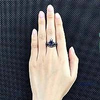 ウェイハートクリスタルクラウンデザインリングファッショナルチャーミングエレガント絶妙なダブルリングウェディングバンドブライダル婚約指輪ジュエリーアクセサリー女性の女の子のための