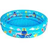 "Big Summer 3 Rings Kiddie Pool for Toddler, 48""X12"",Kids Swimming Pool, Inflatable Baby Ball Pit Pool (Blue)"