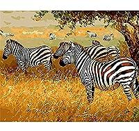 番号によるzddyxペイント番号によるゼブラコルト番号による冬の絵画デジタルフレームによる馬馬の絵画ホームウォールデコレーションアートワーク40x50cm(16x20in)