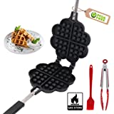 Waffle Irons Non-stick,Cast Iron Waffle Maker,Double Side Loveheart Shaped Waffle Pan,PFOA Free,for Household,Cafe Restaurant