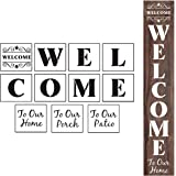 Welcome Stencils for Painting on Wood - 11 Pack Large Vertical Welcome Sign Stencil Templates for Wood Signs, Reusable Letter