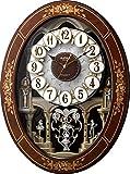 リズム時計 ( Small World ) 電波 からくり 時計 スモールワールド レガロ 茶色象嵌仕上 4MN546RH06