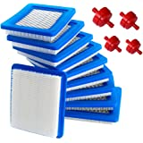 HOODELL 10 Pack 491588S Air Filter + 394358 Fuel Filter for Briggs and Stratton 491588 4915885, Toro 20332, Craftsman 33644,