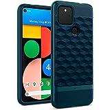 Caseology Google Pixel 4a 5G ケース TPU PC カバー 耐久性 立体パターン グリップ感 Pixel4a 5G ケース パララックス (アクア・グリーン)