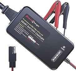 LST 12V バッテリー充電器 バッテリーチャージャー メンテナンス充電器 サルフェーション除去 9-80Ah用 全自動4ステージ充電 LED表示 逆接続&ショート&過電圧&過電流保護 『バイク/自動車/トラック』(黒) (3.3A)
