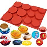 BAKER DEPOT 6 Cavity Large Round Disc Candy Silicone Molds Pastry Bakeware for Baking Soap Making Epoxy Resin Crafting Projec