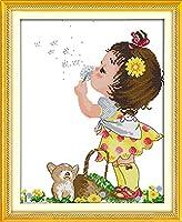 クロスステッチ刺繍キット Awesocrafts タンポポの少女 図柄印刷 DIY 初心者ホームの装飾 Cross Stitch (女の子)