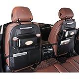 2 Pack PU Leather Premium Car SeatBack Organizer Travel Accessories, Car Seat Back Organizer Seat Protector/Kick mats Back se