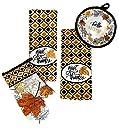 感謝祭Fall Harvest Give Thanksキッチンディッシュタオルバンドルセットの4Includes–2ディッシュタオルAポットホルダーとオーブンミットを