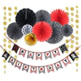 SUNBEAUTY 海賊風 誕生日飾り付けセット 誕生日ガーランド ペーパーファン サークルガーランドなど ハーフバースデー 飾り 誕生日会 装飾 (セット01)