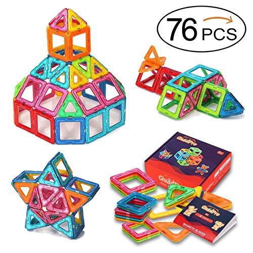 QuadPro マグネットブロック 磁気おもちゃ 子ども 磁石ブロック 図形 組み立て 想像力と創造力を育てる 知育玩具 積み木 男の子 女の子 ゲーム モデルDIY 子供オモチャ(76ピース)