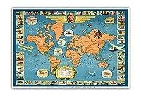世界の有名な飛行機と航空路 - チャールズ リンドバーグ - パン・アメリカン航空(PAA) - ユナイテッド航空 - ビンテージな航空会社のポスター c.1937 - アートポスター - 33cm x 48cm