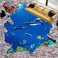 Weaeo 高品質の床の壁紙3Dシーワールドドルフィンのはしごの床のペイントの子供の部屋の歩道の床の壁画-120X100Cm