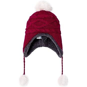 e2c14b425055a LeafIn ニット帽 キッズ 子供用 帽子 耳あて 秋冬 ベビー 防寒 ボア ポンポン 男の子 女の子 冬用ハット 男女兼用 ユニセックス  親子そろい (M