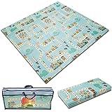 BabyKidzWorld Baby Foldable Play Mat Large Floor Foam Playmat for Kids, Crawling Infant, Babies Waterproof Reversible Soft Pu