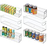 mDesign Plastic Stackable Kitchen Pantry Cabinet, Refrigerator or Freezer Food Storage Bins with Handles - Organizer for Frui