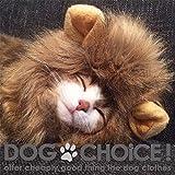 【DOGCHOiCE】 ライオンたてがみ帽子 犬猫用 ふかふかあったかいのでお昼寝に最適 (TYPE-A/ブラウン)