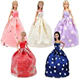 E-TING Lot 5 Gorgeous Princess Dress Pack, Girl Dolls Fashion Gowns Outfit with Floral-Print Voile Clothes for Girl Doll