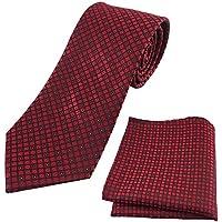 KOOELLE Mens Ties Unique Plaid Check Woven Jacquard with Pocket Square Tie Set