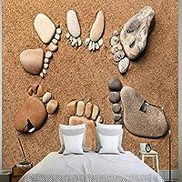Lcymt カスタム写真壁紙カスタム3Dステレオ石足ビーチ背景壁壁画寝室ホテル子供ルーム壁紙-400X280Cm
