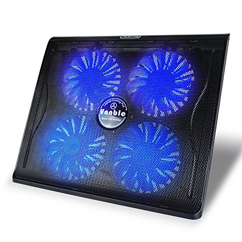 Vanble ノートパソコン冷却台 ノートPCクーラー クール 超静音 pc 冷却ファン USBポート2口 LED搭載 USB接続 17インチ型まで対応4ファン