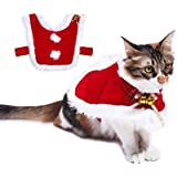 Cat Christmas Costume, Adjustable Pet Cat Santa Clothes Cloak with Bells, Puppy and Cat Xmas Claus Costumes Apparel Party Clo