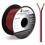 TYUMEN 100FT 22 Gauge 2pin 2 Color Red Black Cable Hookup Electrical Wire LED Strips Extension Wire, 22AWG OFC 12V/24V DC Ext