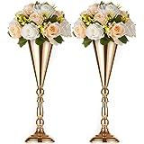 Sfeexun 2 Pcs Tabletop Metal Wedding Flower Trumpet Vase, Table Decorative Centerpiece, Artificial Flower Arrangements for An