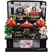 久月 雛人形(ひな人形)三段五人飾り 「よろこび雛」(巾80cm) [1017]