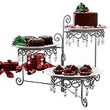 Beaded 3-Tier Silver tone Swivel Server - Appetizers, Snacks, Desserts, Clear