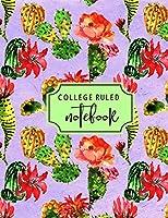 College Ruled Notebook: Lavender flowering cactus cover (Flowering Cactus Notebooks)