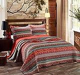 君のホームカザリ ベッドカバー キルト ベッドスプレッド  ケイーン キング用 3点セット 100%綿 (A)
