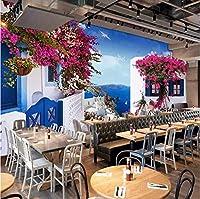 Mingld カスタム任意のサイズ3D地中海窓バラ壁の装飾リビングルームの寝室の背景写真壁紙ロール壁装材-350X250Cm
