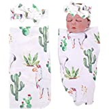 PROBABY Newborn Baby Swaddle Blanket Cactus & Llama Print Blanket with Headband Receiving Blankets for Coming Home Gift (One