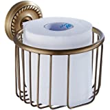 Bathfirst おしゃれ トイレットペーパーバスケット真鍮製 アンティークブロンズ仕上げ 壁掛け ネジ取付 防錆 バスルームアクセサリー ティッシュホルダー トイレットペーパーホルダー 紙巻器 キッチン トイレ 収納