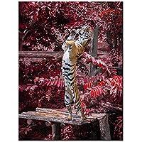 ライブアート装飾 – キャンバス絵画壁アートTiger秋に動物園画像キャンバスの印刷Stretched、フレーム動物壁の装飾ホーム装飾 – 24 x 32