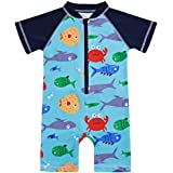 Toddler Kids Baby Boy Swimsuit Short Sleeve Bathing Suit Shark Pattern One Piece Swimwear Blue